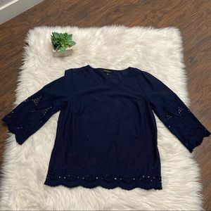 Banana Republic Factory Navy Blue Eyelet Trim Top